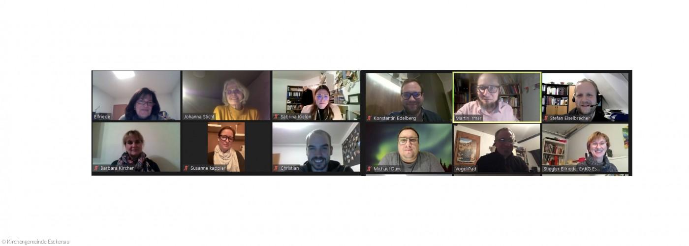 Kachelfotos von allen Kirchenvorständen bei einer Onlinevideokonferenz