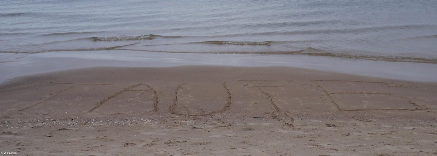 In den Sand geschriebenes Wort Sand am Ostseestrand