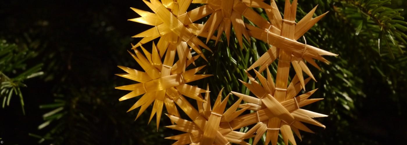 Strohstern aus sechs kleinen Strohsternen am Weihnachtsbaum