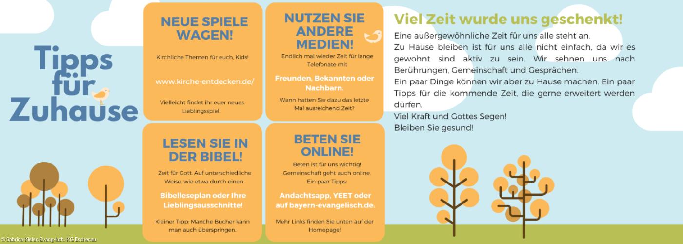 Infographic mit Ideen für Kirche von Zuhause